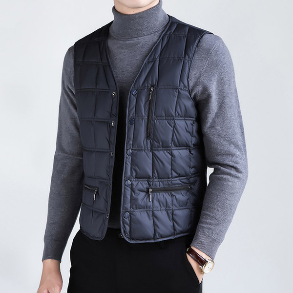 Classic thickening warm down vests men single breasted waistcoat new arrival 2109 autumn winter plus size M - 5XL