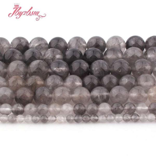 4,6,8,10,12mm rotondo perline di cristallo nuvoloso palla liscia perline in pietra naturale per la collana braccialetto monili che fanno 15