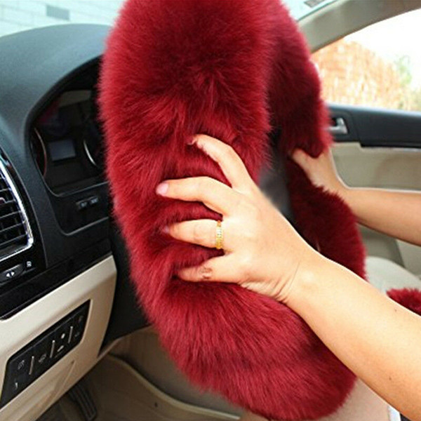 3pcs/set Universal Steering-wheel Plush Car Steering Wheel Covers Winter Faux fur Hand Brake & Gear Cover Set Car Interior Accessories