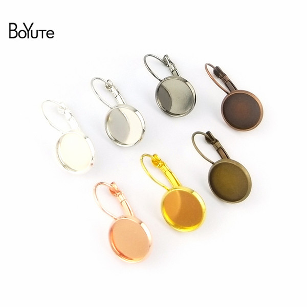 Accessories Jewelry Findings Components BoYuTe 50Pcs 7 Colors Round Earring Blanks Base Accessories Tray Earrings Hooks Parts For DIY Jew...