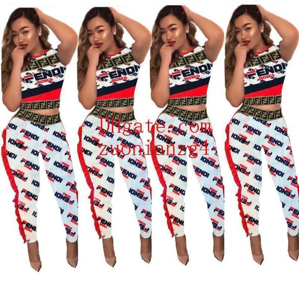 Women Corrugation Lace Tracksuit F Letters Short Sleeve T shirt Crop Top Long Pants 2 Piece Designer Summer Jogging Set Outfits S-XLC5803