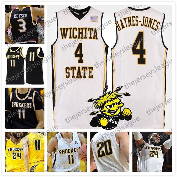 Wichita State Shockers #23 Teddy Allen 24 Shaquille Morris 21 Darral Willis Jr. Black Gold White Stitched NCAA College Basketball Jersey