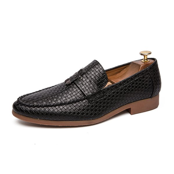 Men Formal Shoes Summer Business Party Dress Casual Shoe Luxury Driving Breathable Comfortable Wedding Tassel Weaving Leather