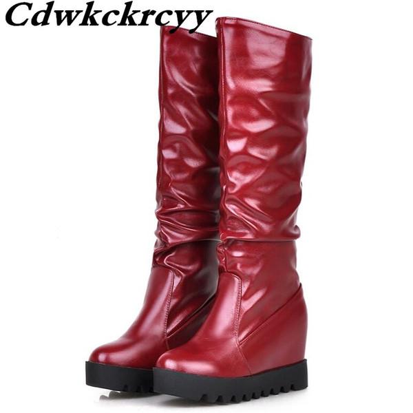 Dicke Unterseite Interne Erhöhung Hohe Zylinder Frauen Stiefel Winter Neue Muster Mode Wasserdichte Knielänge weiße Stiefel 33-43