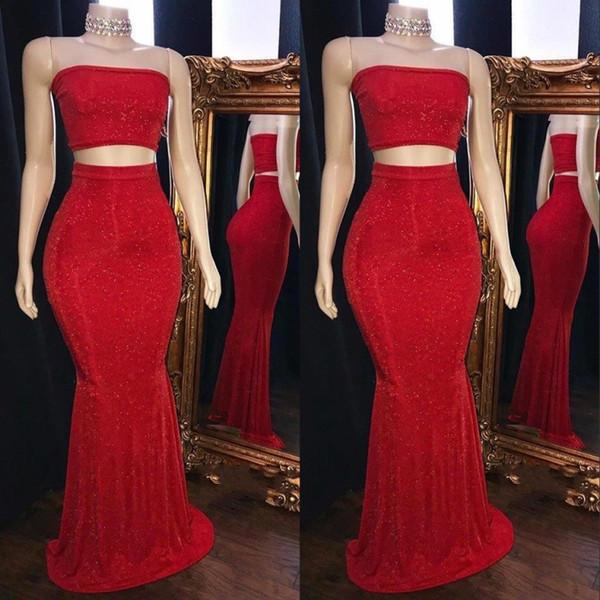 Sexy rosso paillettes due pezzi Prom Dresses 2019 New senza spalline maniche lunghe sirena abiti da sera su ordinazione africana
