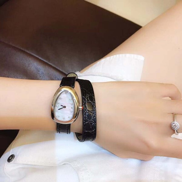 28MM Outdoor Womens Watches Quartz Serpenti Viper Ladies Watch Mother Of Pearl Dial With Double Twirl Black Leather Band