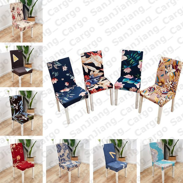 top popular SALE Floral printing Spandex Stretch Elastic Chair Covers For Wedding Dining Room Office Banquet house Decoration Seat Covers E31402 2021