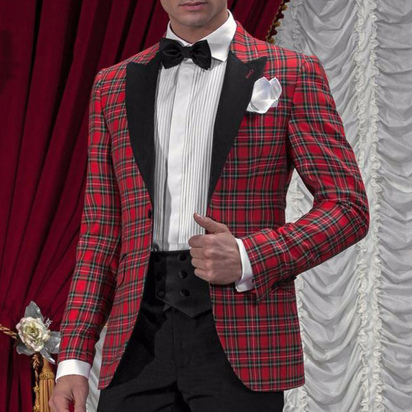 Glen Plaid Wedding Men Suits for Groom Tuxedos 2019 Two Pieces Jacket Pants Waistband Black Peaked Lapel Custom Male Blazer