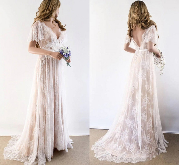 preview of detailing reasonable price 2020 Champagne Country Bohemian Wedding Dresses V Neck Short ...