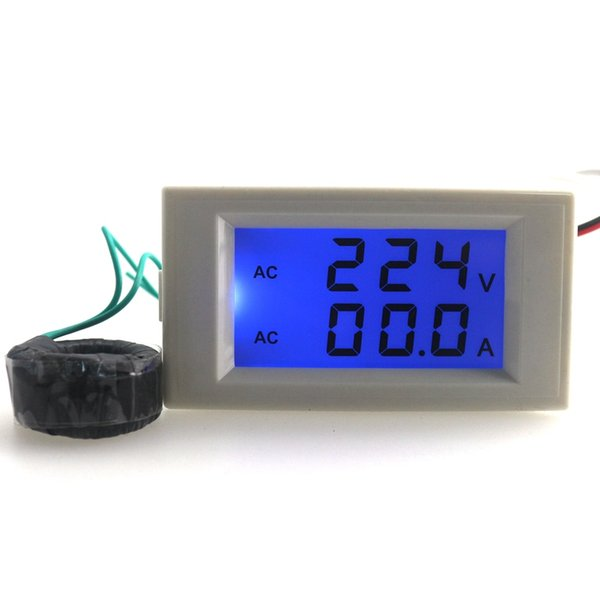 Freeshipping Wholesale Blue LCD Digital voltmeter ammeter AC 80.0-300V Voltage Volt Current amp panel Meter AC 0-100A Free Shipping