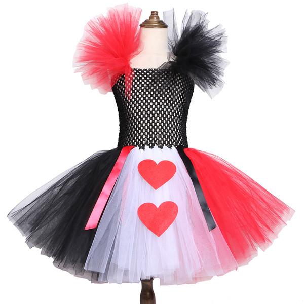 Vestido de tutú rojo negro blanco reina de corazón Alicia en el país de las maravillas disfraces para niños niñas vestido de cumpleaños de Halloween 2-12y Y19061501