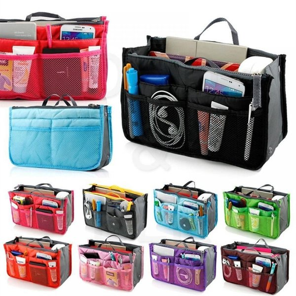 Makeup Bag Case Organizer Insert Bag Women Nylon Travel Handbag Large liner Lady Make up Cosmetic Female Wash Toiletry Tote #29903