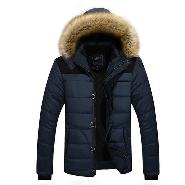 Men Winter Jackets Coats Warm Down Jacket Outdoor Hooded Fur Mens Thick Faux Fur Inner Parkas Plus Size Famous Brand