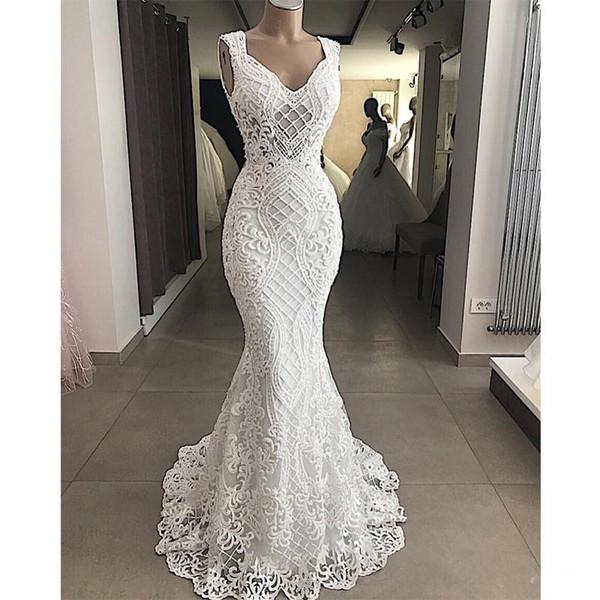 Robe De Mariee 2020 Cut-Out Lace Appliques Mermaid Wedding Dresses Sleeveless Hollow Out Wedding Gowns Elegant Plus Size Bridal Dress