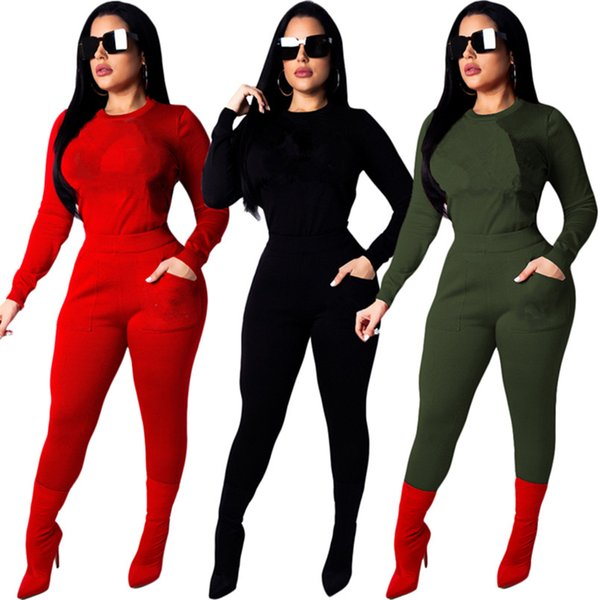 best selling Brand Designer lady two piece crew+jogger set tracksuit sequins sweatshirt leggings outfits hoodie tights sportswear bodycon pant sweatsuit