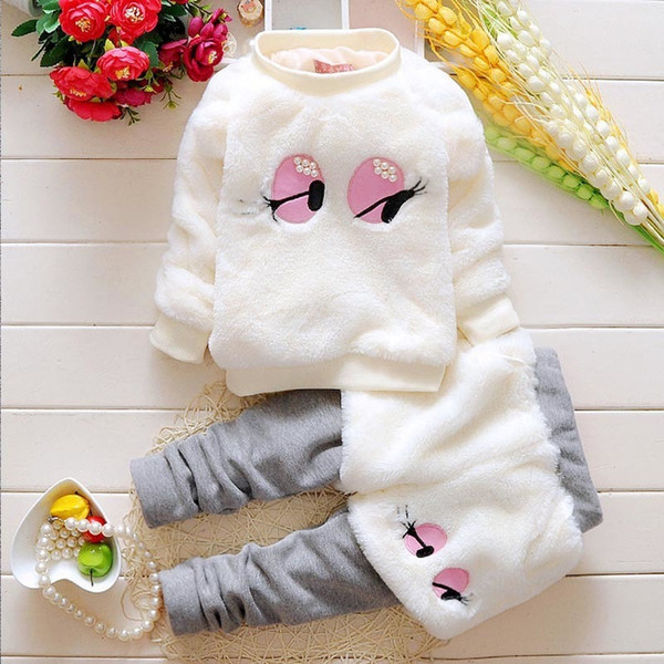 2019 baby girls clothes sets 2PCS girls warm clothing suit thermal coat + thick pant winter outfits for infant girls clothing