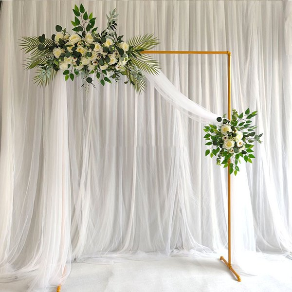 2019 Wedding Background Square Wrought Iron Frame Thickened Galvanized Tube Wedding Design Flowers Stand Diy Artificial Flowers Wreath Decoration From