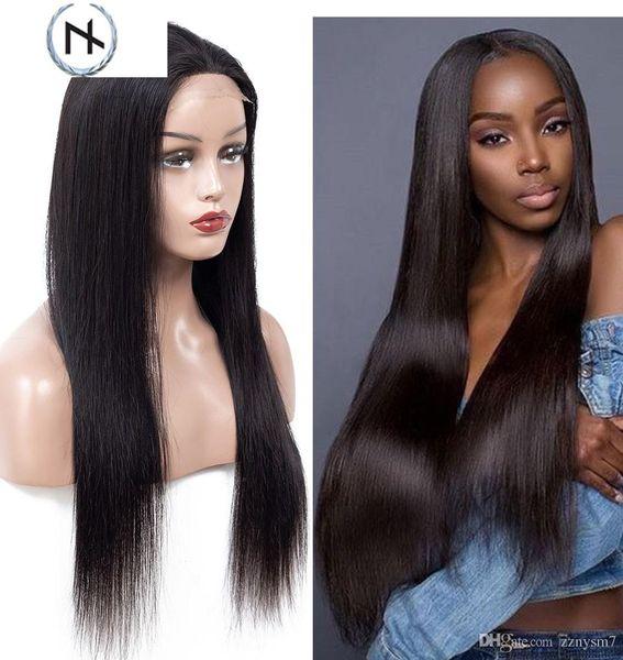 Fermeture perruque avant de dentelle perruques de cheveux humains pour les femmes noires Remy Cheveux brésiliens Silky droite en dentelle pleine perruque brésilienne de cheveux humains ED36