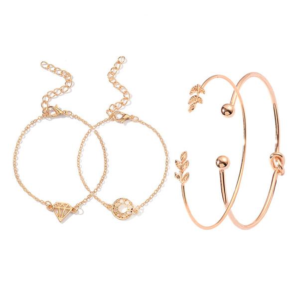 Conjuntos de pulseras Conjuntos de cuatro piezas Adornos Brazalete de hoja de moda para mujer Pulseras al por mayor Brazaletes