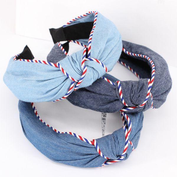3pcs / lot Denim Filles Bandeaux Rouge Blanc Bleu Rayures Deux Couches Bandeaux Élastiques Pour Femmes Accessoires De Cheveux Chapeaux Adultes