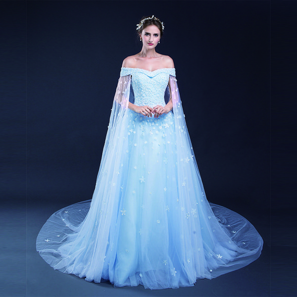 Light Sky Blue A Line Wedding Dresses Flower Lace Applique Lace Up Tull Off The Shoulder Bridal Dresses Custom Made Wedding Gowns