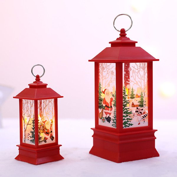 LED Christmas Candle with Holder light Candles Cages Elk Santa Claus Printing Candlestick Christmas Decoration For Home #15