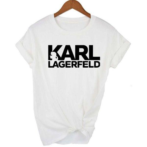 كارل مصمم المطبوعة المرأة بلايز Lagerfeld س الرقبة قصيرة الأكمام المرأة قمم الصيف السيدات مزق عارضة المحملات