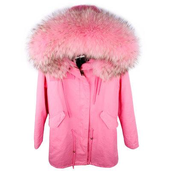 Women 100/% Real Raccoon Fur Parka Coat Hooded Jacket Rabbit Fur Lining Overcoat