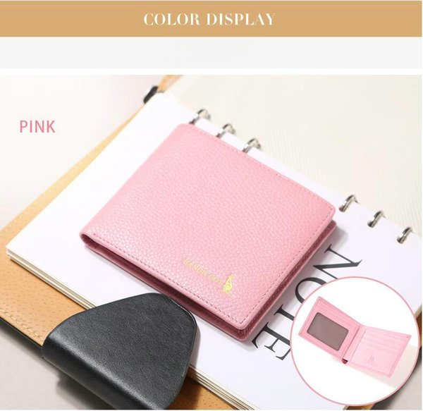 2018 New ladies short wallet Cute pink student coin purse Leather wallet Small fresh card thin Solid color wallet Support for mixed order