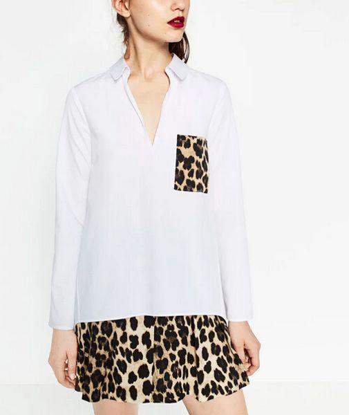 2017 New Fashion Women Vintage Leopard Pocket Decoration Pullover shirt Loose Slim Blouses Casual Work Wear Feminine Blusa