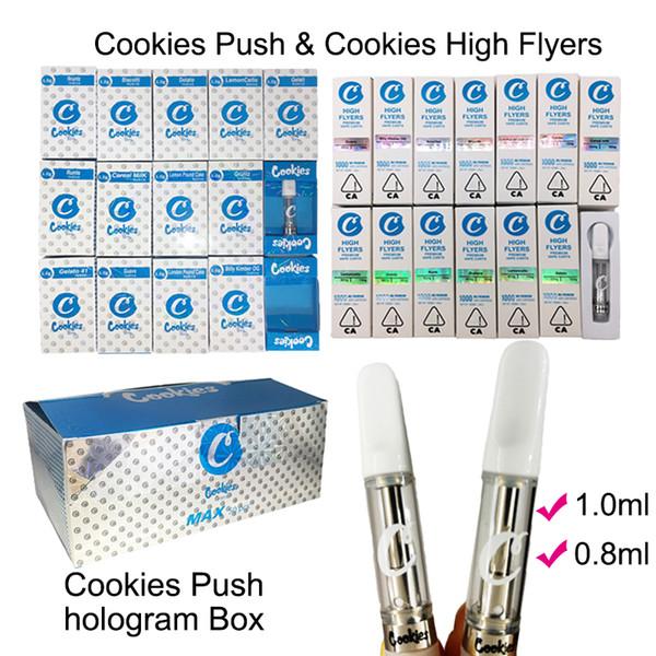 Cookies PUSH High Flyers Cartuchos Vape 1ml 0.8ml Tanque de vidrio Vape Vacío Cartuchos de pluma Bobina de cerámica 510 Cartucho Vapes Sabor Caja de embalaje