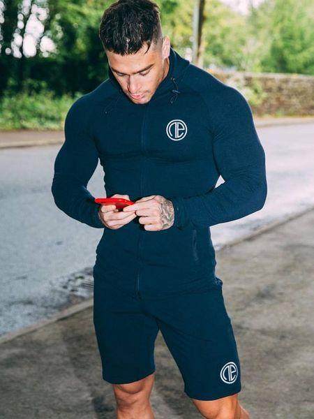 Conjunto de Roupas Esporte Homens Correndo Jogging Ternos Masculino Ginásio de Fitness Body building Sportwear Hoodies dos homens + Calças Dos Homens Set Ginásio Terno de Trilha