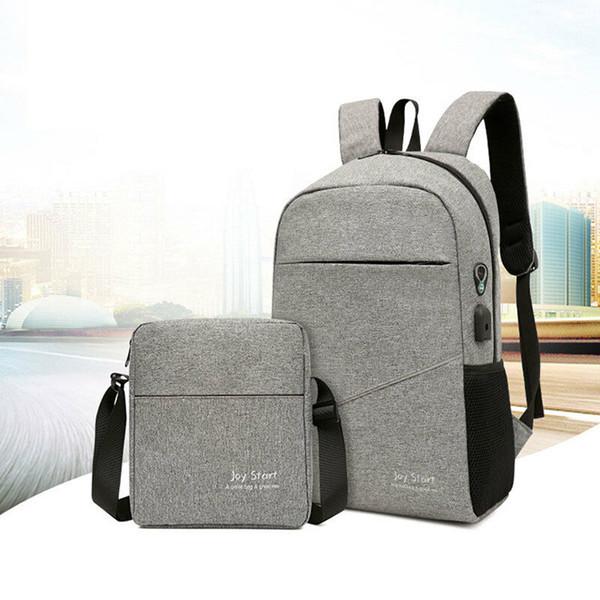 Moda çift eşleştirme sırt çantası düz renk su geçirmez seyahat çok fonksiyonlu USB arabirimi sırt çantası + Omuz çantası