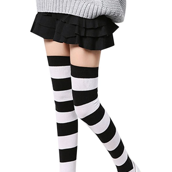MUQGEW thigh high socks for girls long socks College Wind Women Girl Winter Over Knee Leg Warmer Striped Soft Cotton #y4