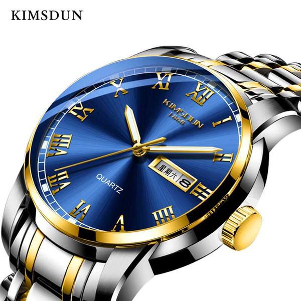 Cavalheiro de negócios luminosa KIMSDUN dos homens da semana automática data de exibição de moda casual relógio de quartzo pulseira de aço inoxidável Relogio