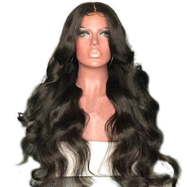 Malaysian virgin Human full lace Hair Wigs loose wave with Baby Hair pre plucked with bangs Lace Front Wigs For Black women