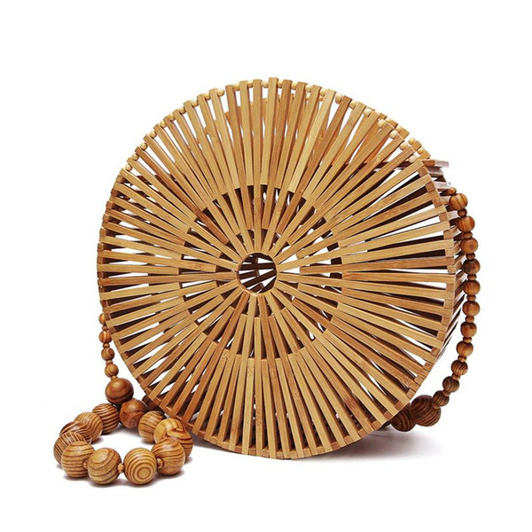 Women Wooden Beads Handbags Beach Bamboo Weaving Bag Handmade Bohemian Shoulder Bags Vintage Crossbody Bag