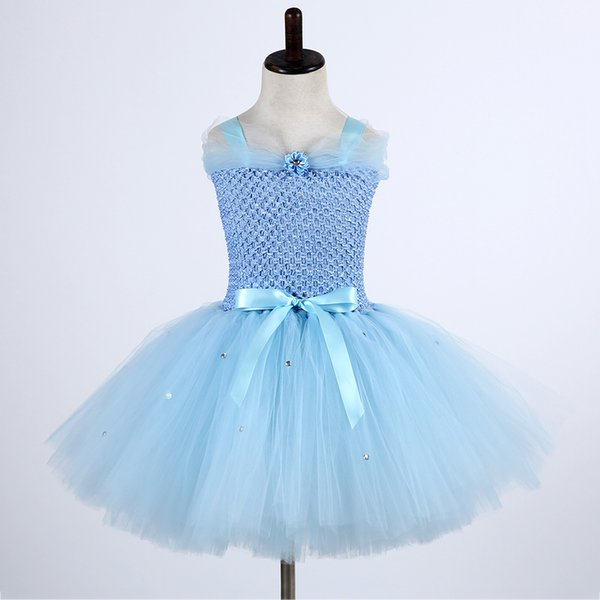 Cute Froze Child Princess Christmas Snow Queen Dresses Elza Costumes Girls Flower Pearls Party Tutu Dress