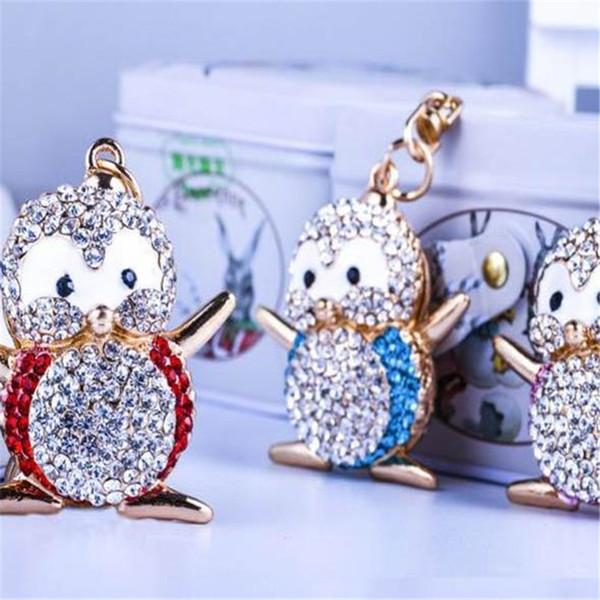 Pinguim dos desenhos animados forma chaveiro Criativo com diamante de metal pingente bonito anel chave Saco de acessórios de moda 2019032509