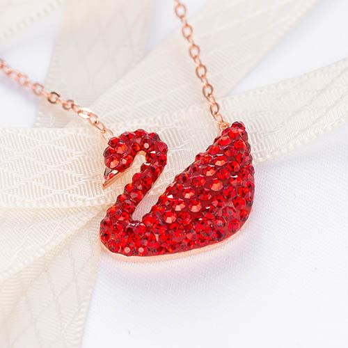 Multi-color super quality AAA women's gift necklace female personality crystal swan pendant collar bone chain fashion rose gold necklace 01