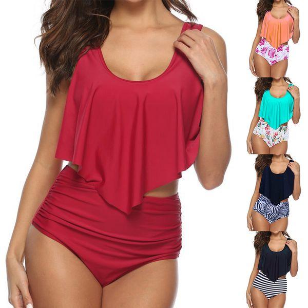 Women Swimwear Swimming Suit Bikinis Two Piece Set Padded Swing Ruffled Bra Printed Shorts Bathing Suit