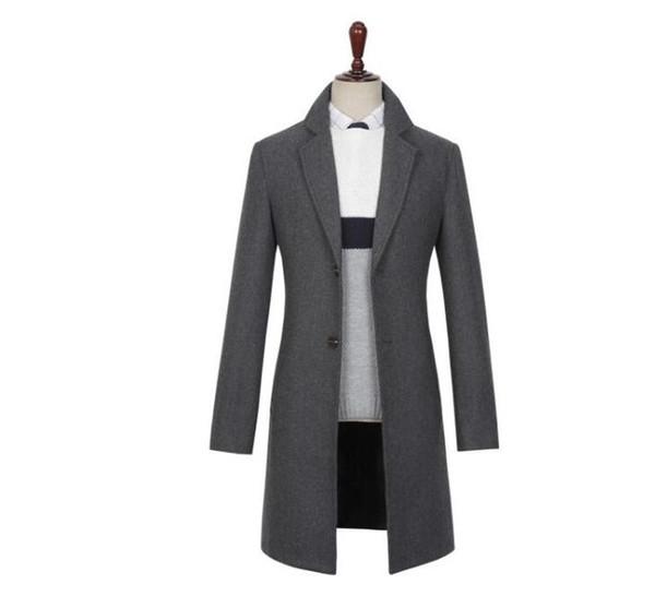 Casaco de lã casuais homens trench coats mangas compridas single-breasted espessamento sobretudo ternos mens cashmere casaco inglaterra preto cinza