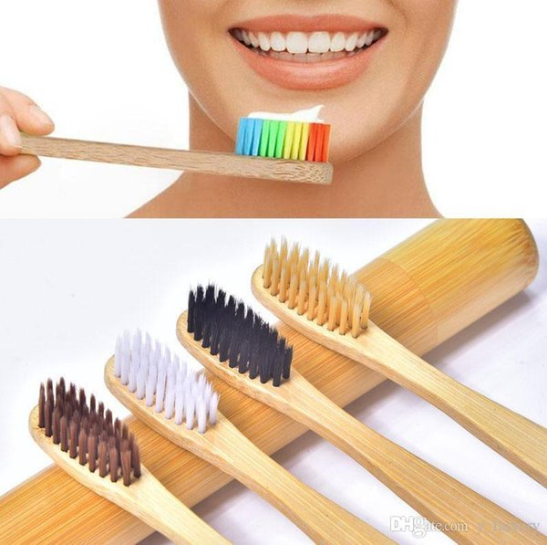 5 Colors Natural Bamboo Toothbrush Biodegradable Environment Wooden Rainbow Nylon Soft Bristle Toothbrush with Individual Packing