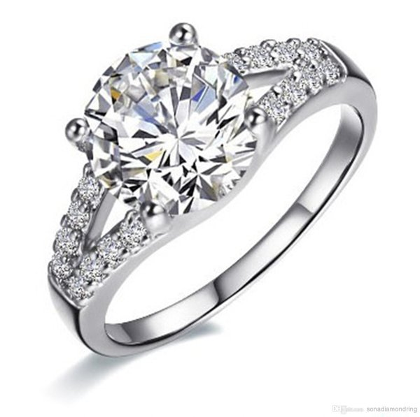 Toptan Satış - Kadınlar için 2Ct SONA Sentetik Elmas Yüzük Alyanslar Nişan Yüzüğü Gümüş beyaz altın kaplama güzel söz Prong ayarı