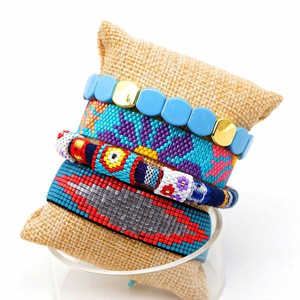 1set / lot Nouvelle arrivée à la main bleu Mix match Bracelets Set réglable Rocailles tissé perles Bracelets main Bijoux Designer