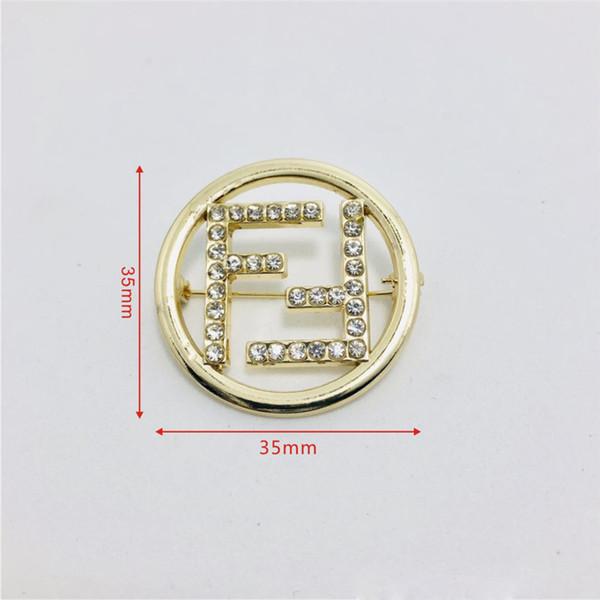 Buchstabe F Anzug Pin für Party Fashion Brand Brosche mit Kristall einfachen Stil Broschen für Männer, Frauen