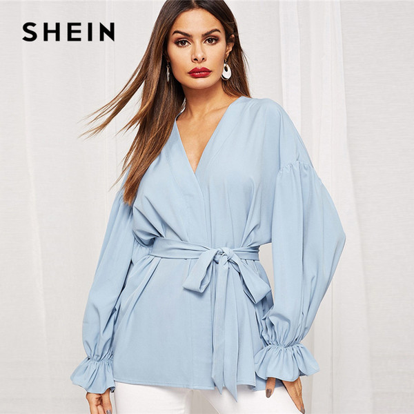 SHEIN Blue V Neck Batwing Sleeve Belted Ruffle Cuff Coat Women Solid Outerwear 2019 Spring Workwear Office Ladies Coats