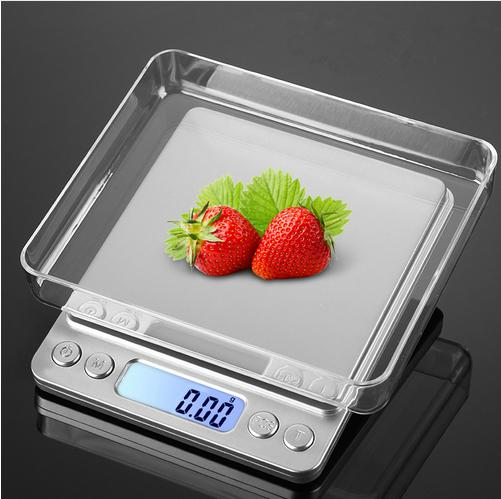 DHL Free shipping Digital Kitchen Scale 500 x 0.01g Pocket Size with PCS Tare Switch Weighing Units Multifunction Stainless Steel Platform
