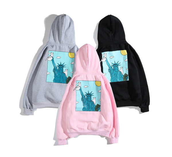 Ripndip With Statue Of Liberty Women Clothes Designer Big Print Pocket Men Hoodies Couples Matching Clothes