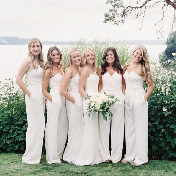 Blanc Jumpsuit robes de demoiselle d'honneur chérie cou cher Pays Pucelle d'honneur Robes de mariée longueur de plancher en mousseline de soie Robe Invité